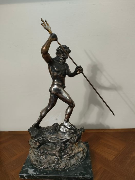 Sculpture, Neptune - Alloy, Silver plated - Second half 20th century