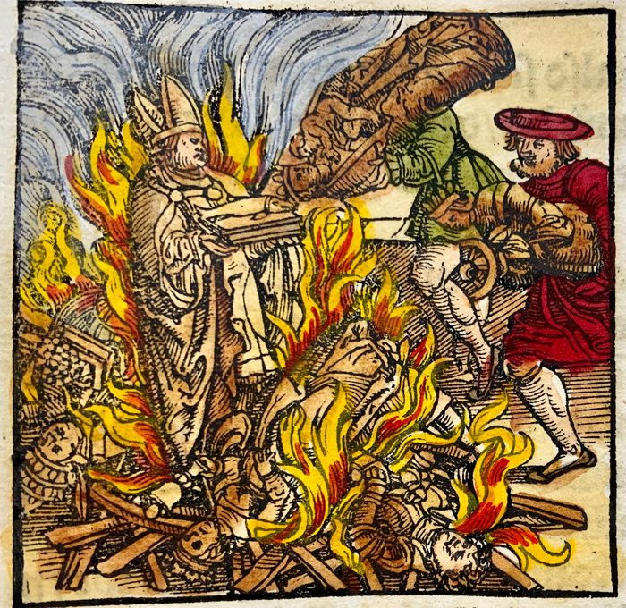 Heinrich Vogtherr (the Elder) (1490-1556) - Large folio - Reformation: Burning of Papal Reliquaries in 1529; Flooding in Basel !! - First Edition - 1548 - 1548