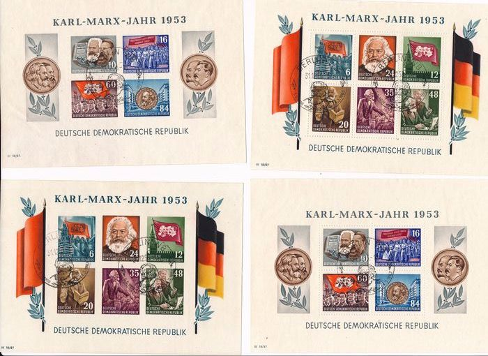 """Duitse Democratische Republiek (DDR) 1953 - """"Karl-Marx-Jahr"""" (Karl Marx Year), all 4 block issues, perforated/imperforate, with commemorative - Michel Block 8/9 A/B"""