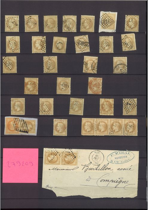 Francia - Empire with laurel wreath 1863-1870 - 10 centimes bistre - 50 pieces - start of study of Paris stars - Yvert 28
