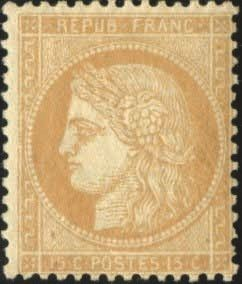 Francia - Ceres perforated, 1871-1875 - 15 cents Bistre - Beautiful - Behr certificate - Yvert 59