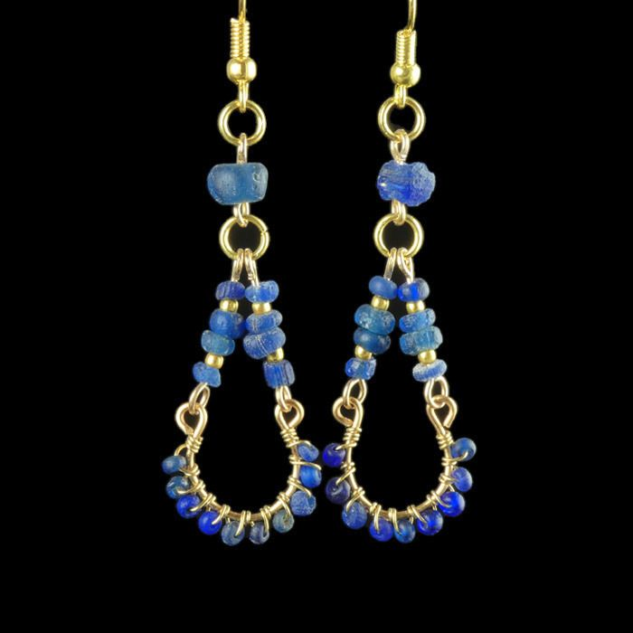 Ancient Roman Glass Earrings with wire wrapped blue glass beads - (1)
