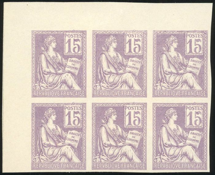 Francia - Modern France, proof of 15 cents, Mouchon, purple, block of 6, imperforate. Superb. Behr certificate - Yvert 117