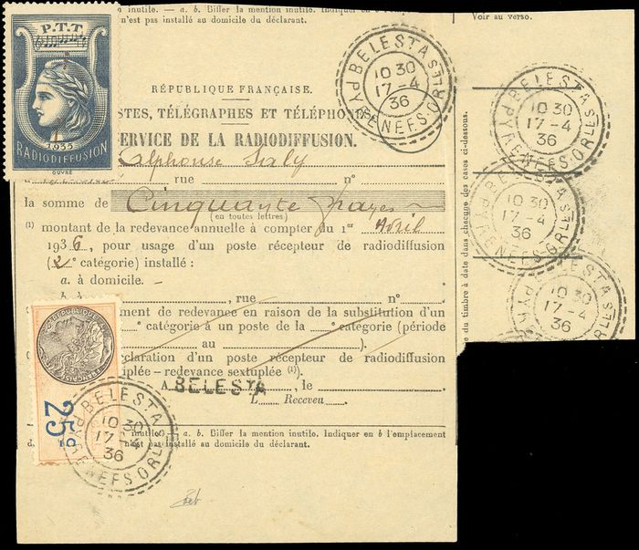 Francia - Broadcasting stamps - Stamp from 1935, on a document from the French Broadcasting Service - - Yvert 1