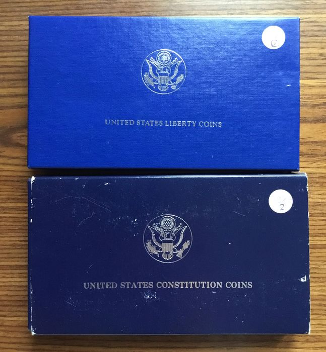 USA. Dollar 1987-S + ½ Dollar + Dollar 1986 in set Proof (total 3 coins)