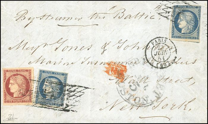 Frankreich - Ceres 1849-1850 - 1 Franc carmine red + 2x 25 cents blue - Endless grid cancellation - Beautiful - - Yvert 6+4 x 2