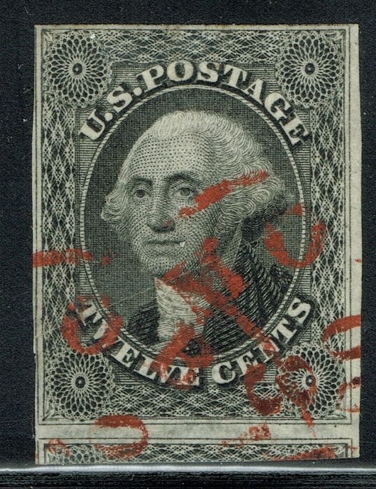 USA - 1851, 12c, black, with rare red town cancellation. Generous margins, - Scott 17