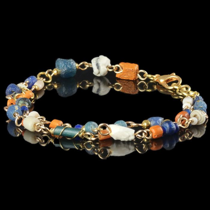Ancient Roman Glass Bracelet with blue, orange glass and shell beads - (1)