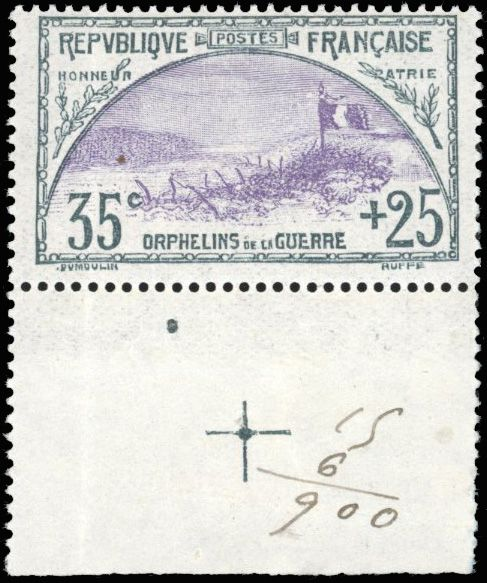 Francia - Modern France - 35 cents and 25 cents slate and purple - Sheet edge with landmark cross - - Yvert 152