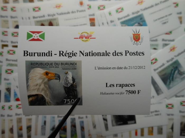 Burundi 2012 - Complete modern Fauna series on deluxe sheetlet, imperforate - OBP / COB 1979/83 & 2094/98
