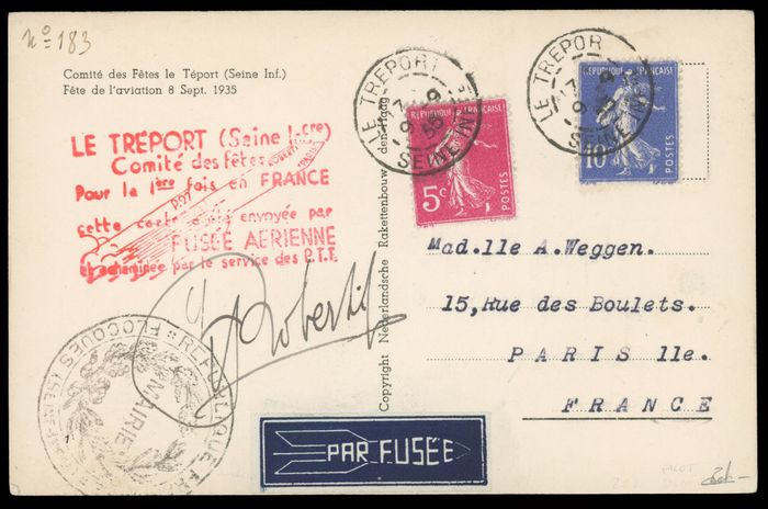 Francia - Airmail - 10 cents + 5 cents Semeuse - Rocket mail - VF - Behr certificate - Yvert 0