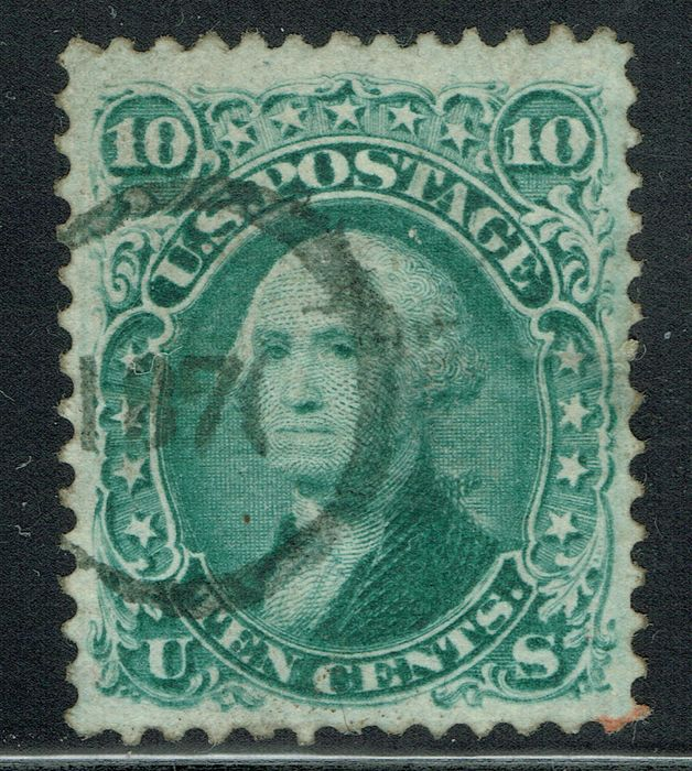 United States of America - 1867, 10 c green with rare single ring cancelation 1870. Certfied. - Scott 89
