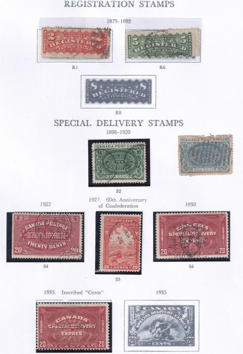 Canada 1875/1972 - Old collection  Back of Book (Air Mail, Registered.) and definitives on album pages and  Blocks