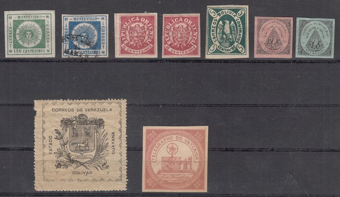South America Bolivia Uruguai and Honduras Venezuela - Selection of the first stamps, new and used, signed