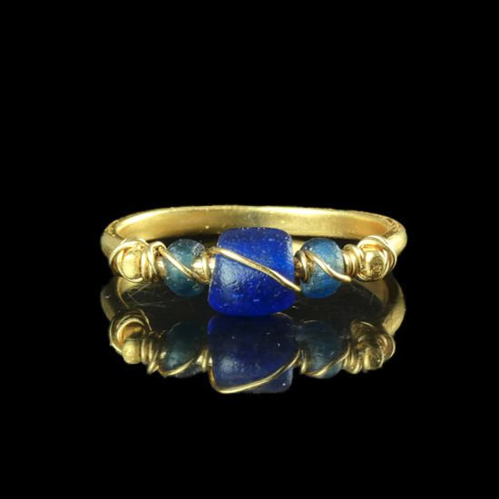 Ancient Roman Glass Ring with wire wrapped blue glass beads - (1)