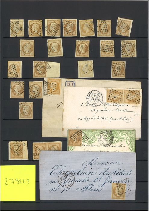 Francia - Imperforate Empire 1853-1860 - 10 centimes bistre - about 70 pieces - shades and cancellation by - Yvert 13A/B