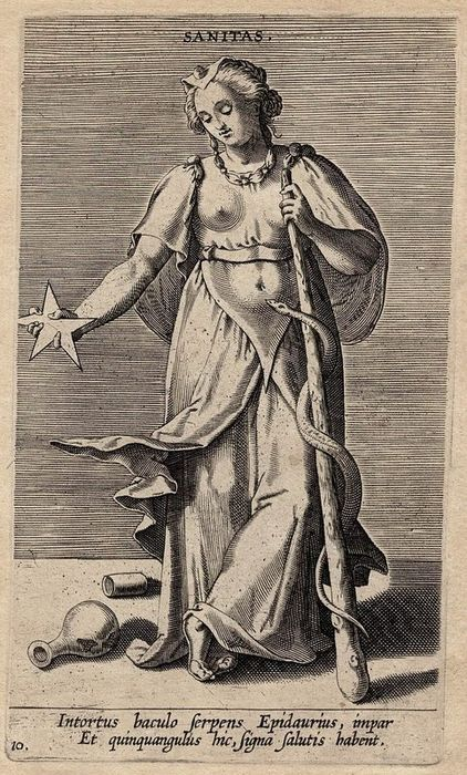 Philip Galle (1537-1612) - Sanitas: Health : A woman with a star and an esculap, symbols of Health and Medicine.