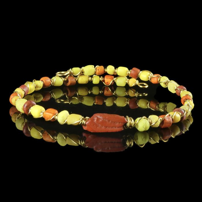 Ancient Roman Glass wire wrapped Bracelet with yellow and red glass beads - (1)