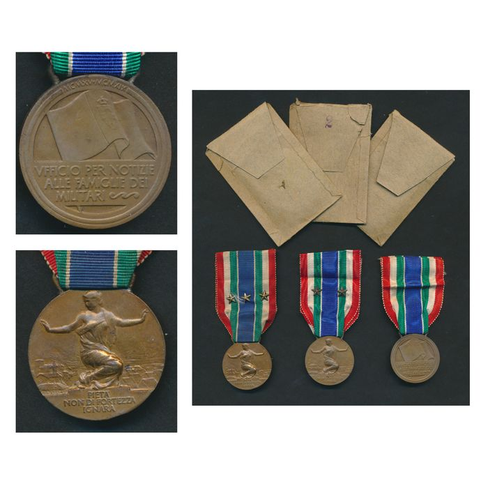 Italy - War medal collection 15/18 with original bag