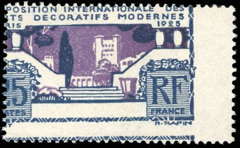 Francia - Modern France - 25 centimes grey-blue and purple, perforation variety - superb - Behr certificate - Yvert 213