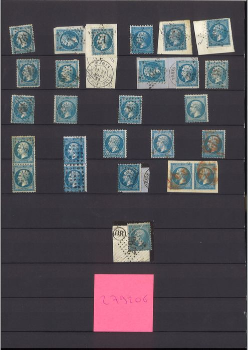 Francia - Empire, perforated, 1862, 20 cents blue - Set of about 60 pieces - Cancelled including red star, - Yvert 22