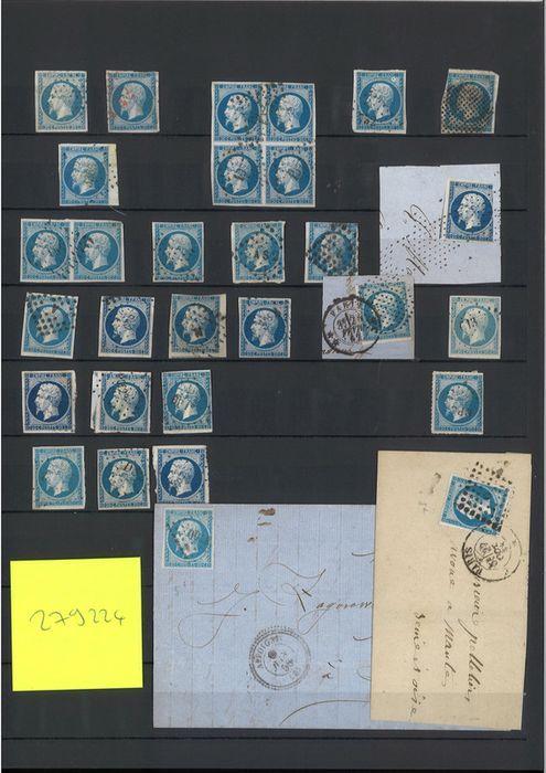 Francia - Empire imperforate 1853 1860 - 20 cents blue - About 100 pieces including print varieties and - Yvert 14A/B