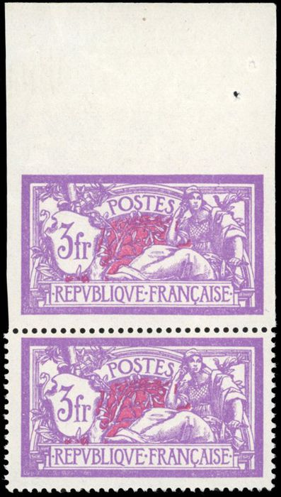Frankrijk - Modern France - 3 francs purple and blue - imperforate attached to perforate in a pair - Top of - Yvert 206