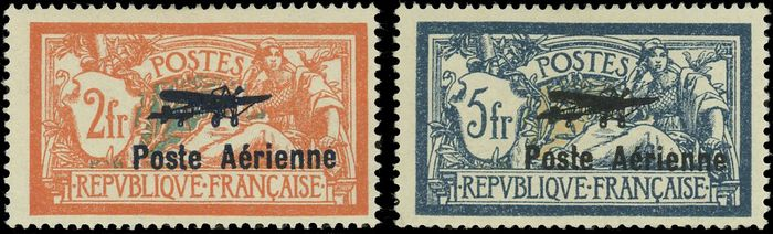 Francia - Airmail - 2 values. Very good centring. Beautiful - Behr certificate - Yvert 1+2