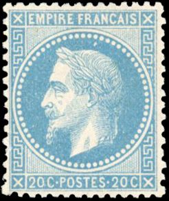 Francia - Empire with laurel crown, 1863-1870 - 20 cents blue - Good centering - Beautiful - Behr certificate - Yvert 29B