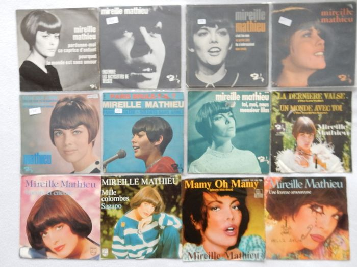 """Mireille Mathieu - sings in French and German on 36 Singles - Diverse titels - 45-toerenplaat (Single), 7"""" EP - 1966/1986"""