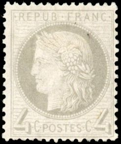 Francia - Ceres perforated, 1871-1875 - 4 cents - Grey - Beautiful - Behr certificate - Yvert 52