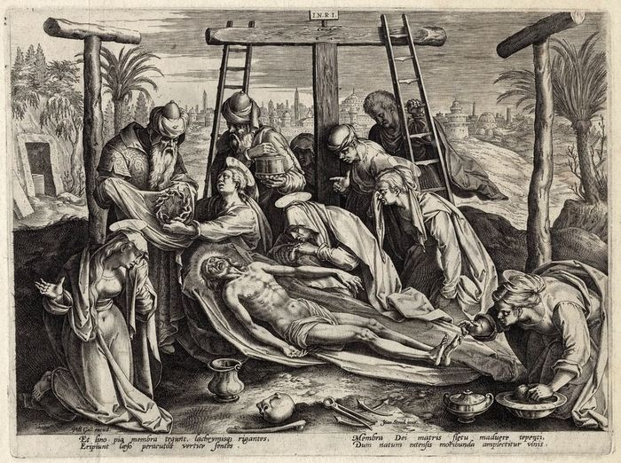 Joan Stradanus (1523-1605), Philips Galle (1537-1612) - Embalming of Christ on mount Colgotha, with skull, the tombe and a view of Jerusalem..