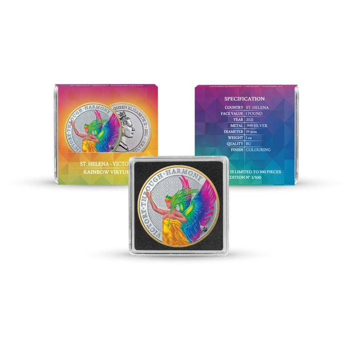 Saint Helena and Ascension (British Overseas Territory). 1 Pound 2021  The Queens Virtues Victory - Metallic Rainbow - 1 Oz
