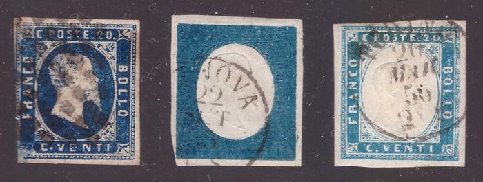 Italian Ancient States - Sardinia 1861 - three values of 20 cents first, third and fourth issues used - Sassone NN. 2, 5, 15
