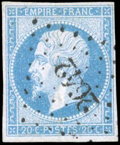 Francia - Empire imperforate 1853 1860 - 20 cents blue on lilac - Light cancellation and marked shade - - Yvert 14e