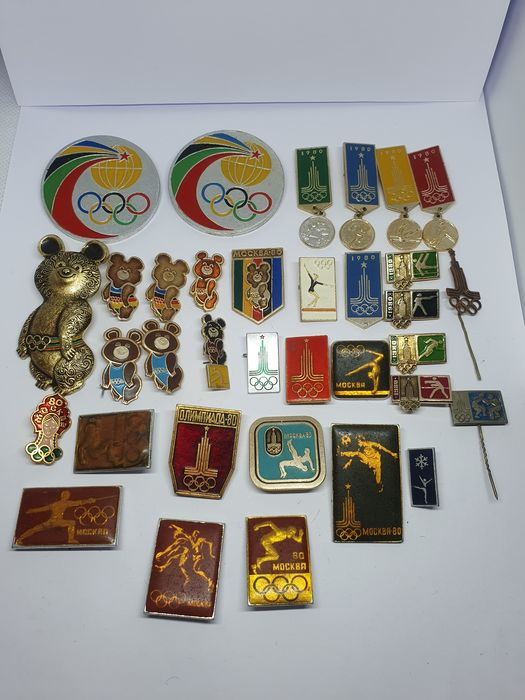 1980 XXII Olympic Games Moscow Soviet Mix Pin Badge 34pcs - 1980 - Pin