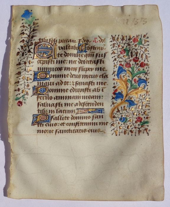 Manuscript - Illuminated Leaf from a Medieval Book of Hours - 1430