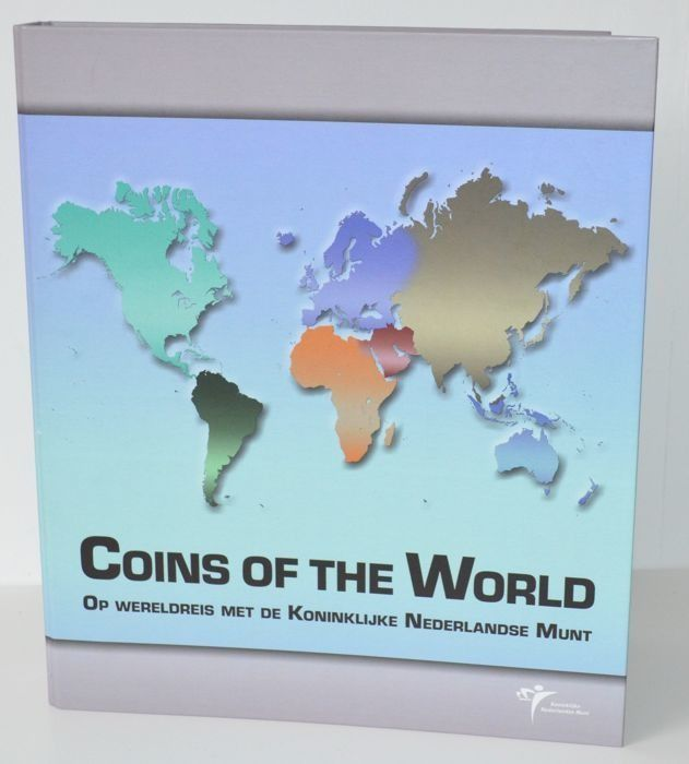 Amerika. 23 Muntensets 'Coins of the World' in map