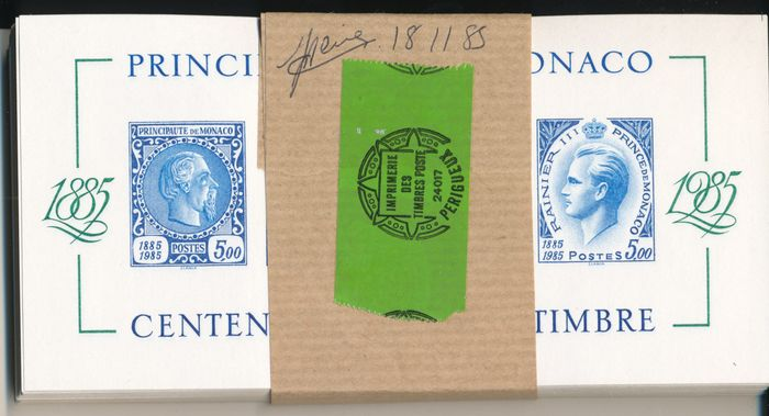 Monaco 1985/1994 - 100 years of stamps block imperforate in a bundle of 100 pieces - Yvert 33a