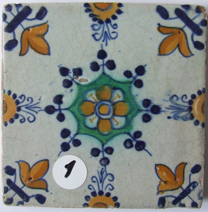 Flawless Colored Haarlem Ornament Tile - Earthenware