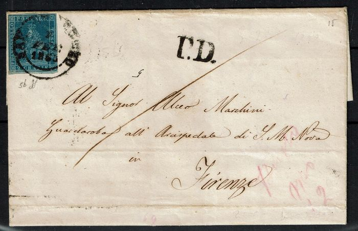 Italie 1851 - Old States Tuscany, letter with 2 crazie from Sestino to Florence - Sassone 5