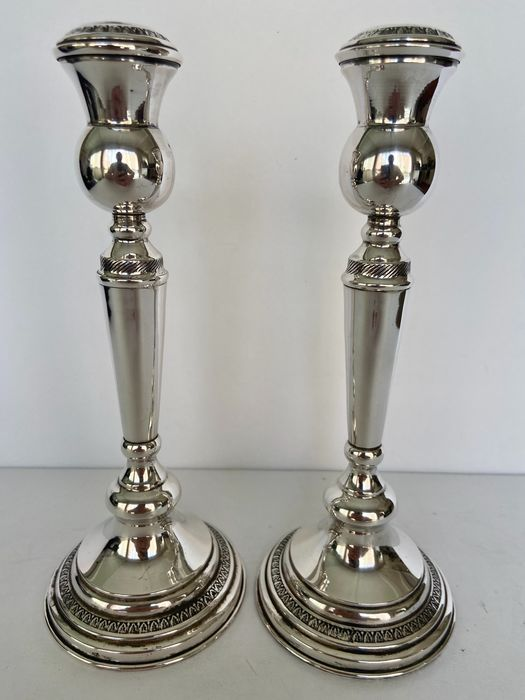 Candlestick, Sterling silver 22 cm candle holders (2) - .925 silver - American - USA - Mid 20th century