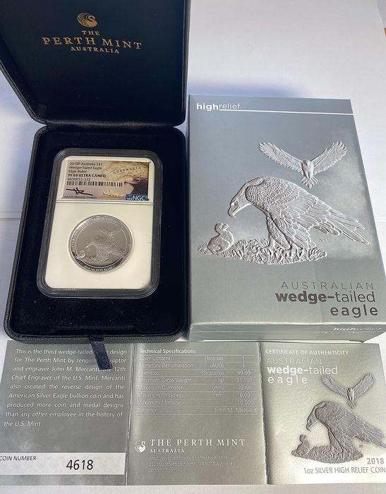 Australia. 1 Dollar 2018 / Wedge-Tailed Eagle High Relief Proof / 1 Oz / NGC PF69 / Hand-signed by John M. Mercanti