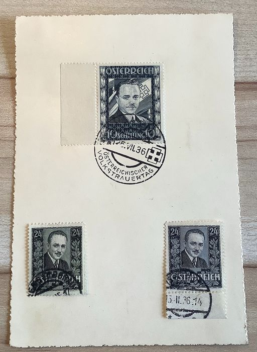 "Østerrike 1936 - ""Dollfuss"" stamps, 10 shillings and 24 groschen, commemorative postmark"