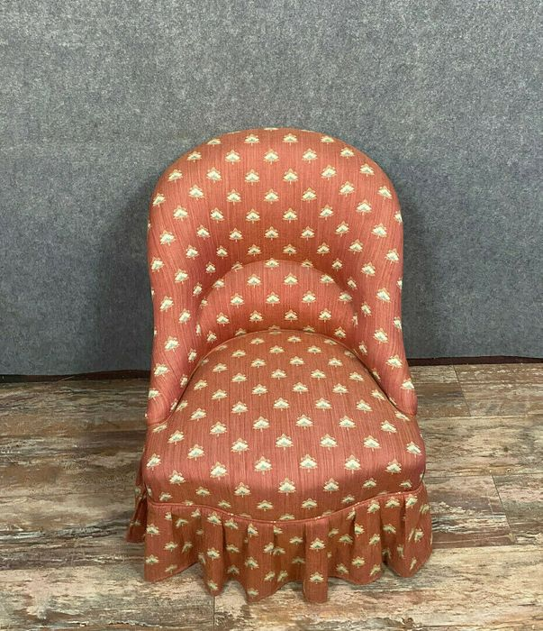 Toad armchair - Napoleon III - Wood, Patterned tapestry. - Around 1850