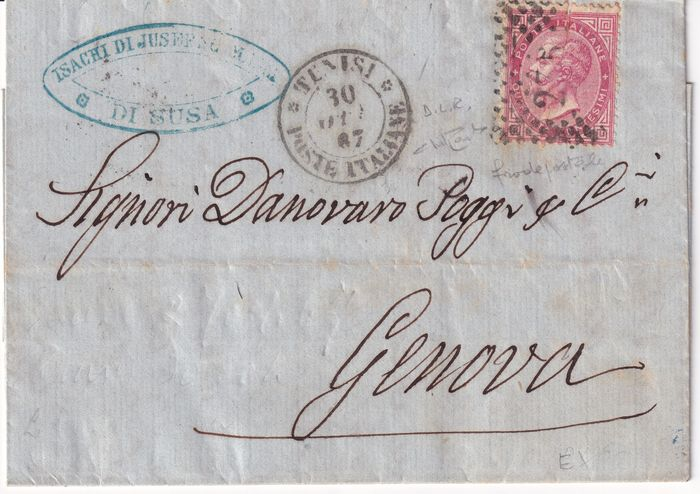 Postämter im Ausland 1867 - DLR 40 c. in postal fraud from Tunis pt. 4 to Genoa, rare, with expertise - Sassone N.L20