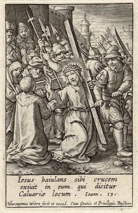 Hieronymus Wierix (1553-1619) - Christ carrying the cross and the veil of Veronica.
