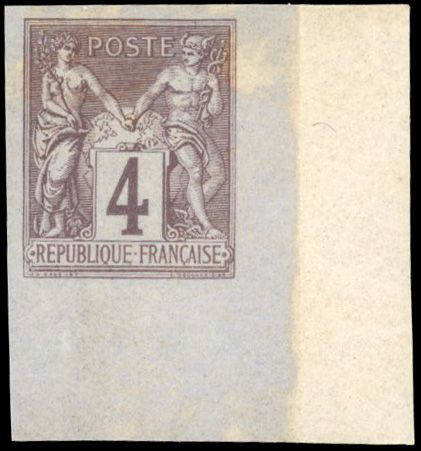 Francia - Allegorical Group 1876 1900 - 4 cents lilac-brown - Type II - Imperforate - Sheet edge - Beautiful - - Yvert 88c
