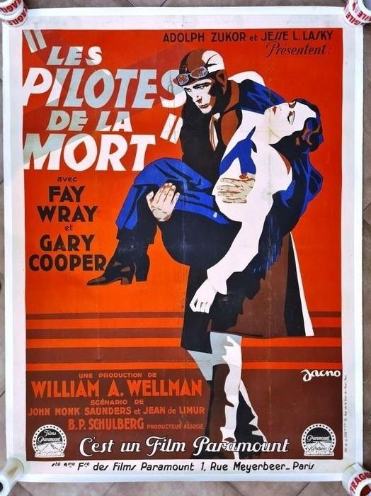 The Legion of the Condemned (Les Pilotes de la Mort 1928) - Gary Cooper, Fay Wray - Lithografie, Poster, Original French cinema release - 120x160 cm / linen backed