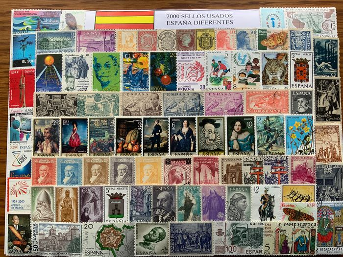 Spanien 1855/2000 - Collection of 2,000 different stamps from Spain